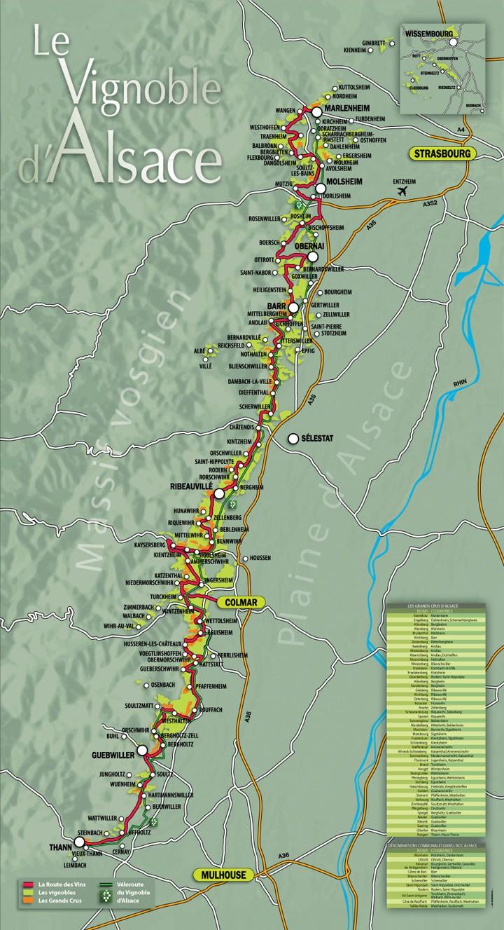Carte route des vins d'Alsace